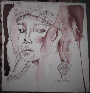 Die junge Braut - Zeichnung von Susanne  Haun - 27 x 25 cm - Tusche auf Bütten