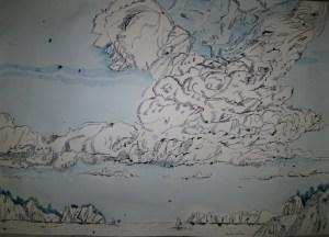 Wolken - Zeichnung von Susanne Haun - 70 x 100 cm - Tusche auf Bütten