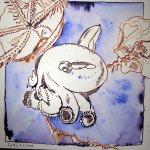 Elefantenkrake - Zeichnung von Susanne Haun - 25 x 25 cm - Tusche auf Bütten