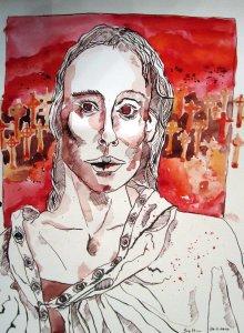 Die Seherin - Zeichnung von Susanne Haun - 40 x 30 cm - Tusche und Aquarell auf Papier