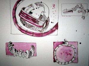 Inspirationen Fehdereifen - Zeichnung von Susanne Haun - 30 x 40 cm - Tusche auf Aquarellpapier