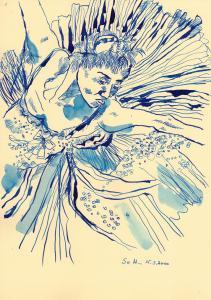 Schwanensee - Zeichnung von Susanne Haun - 30 x 20 cm - Tusche auf Bütten