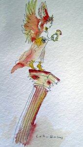 Wer hoch steht, fällt tief! - Zeichnung von Susanne Haun - Tusche und Aquarell auf Bütten - 30 x 15 cm
