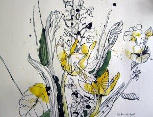 Gerdas Blumenstrauß - Zeichnung von Susanne Haun - 26 x 36 cm - Tusche auf Bütten