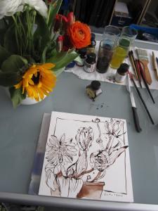 Blumen auf meinem Ateliertisch - Foto von Susanne Haun