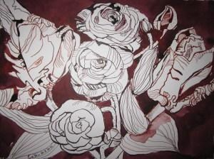 Blumenstrauß - Zeichnung von Susanne Haun - 24 x 32 cm - Tusche auf Bütten