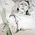 Amseln und Engel - Ausschnitt Rolle - Zeichnung von Susanne Haun - 70 x 40 cm
