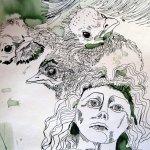 Amseln und Engel - Ausschnitt Rolle - Zeichnung von Susanne Haun - 50 x 40 cm
