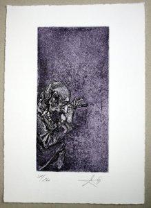 Andreas Noßmann Flötenspieler Radierung 20 x 10 cm