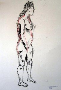 Akt 4 vom 25.4.2010 - Zeichnung von Susanne Haun - 42 x 59,4 cm - Kohle auf Römerturm Skizzenpapier
