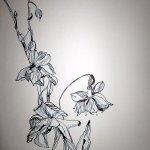 Verblühte Osterglocken - Zeichnung von Susanne Haun - 40 x 30 cm -Tusche auf Bütten