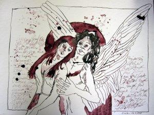 Binas Engel - Zeichnung von Susanne Haun - 30 x 40 cm - Tusche auf Bütten