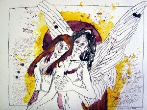 Binas Sonne, Licht und Gold Engel - Zeichnung von Susanne Haun - 30 x 40 cm - Tusche auf Bütten