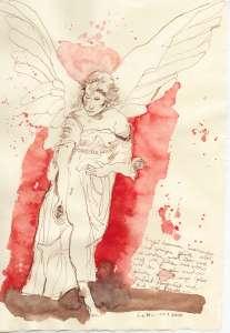 Anmutiger Engel - Zeichnung von Susanne Haun - 30 x 20 cm - Tusche auf Bütten