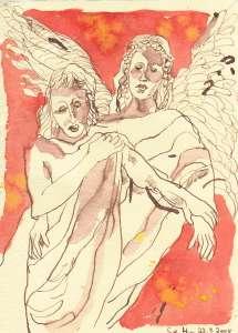 Engelgeleit - Zeichnung von Susanne Haun - 20 x 15 cm - Tusche auf Bütten