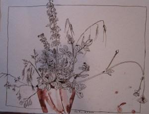 Frühlingsstrauß - Zeichnung von Susanne Haun - 38 x 46 cm - Tusche auf Bütten