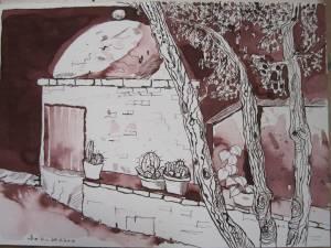 Backofen in der Toskana - Zeichnung von Susanne Haun - 24 x 36 cm - Tusche auf Bütten