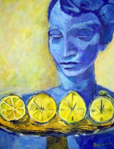 Die Zitronenfrau - Gemälde von Susanne Haun - 1999 - Acryl auf Leinwand - 100 x 70 cm