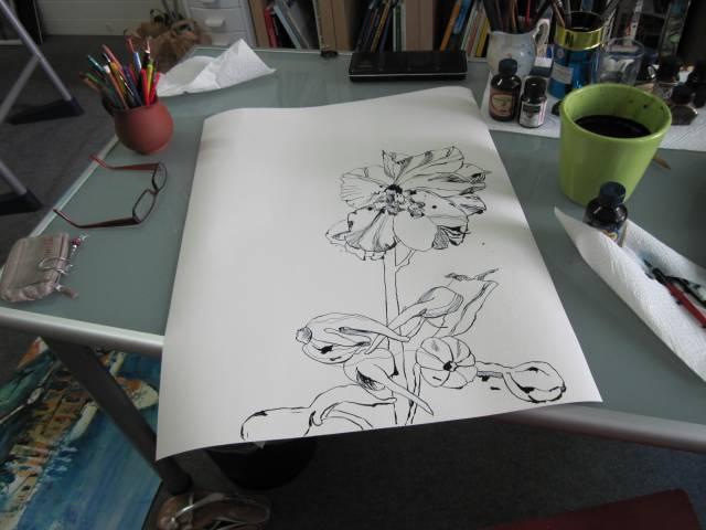 Meine halbfertiger Rittersporn - Zeichnung von Susanne Haun auf Hahnemühle 70 x 50 cm Büttenpapier