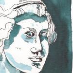 Athenas Gesicht - Zeichnung von Susanne Haun - 17 x 24 cm - Tusche auf Hahnemühle Cornwall