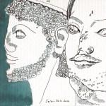 Zwei Köpfe - Zeichnung von Susanne Haun - 17 x 24 cm - Tusche auf Hahnemühle Cornwall