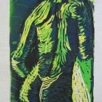 Akt mit Handtuch - Linoldruck von Susanne Haun - 12/12 - 18 x 13 cm