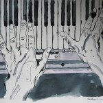 Hände am Klavier - Zeichnung von Susanne Haun - 30x 40 cm - Tusche auf Bütten