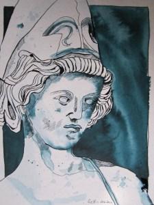 Athena - Zeichnung von Susanne Haun - 32 x 24 cm - Tusche auf Hahnemühle Cornwall