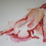 Roter Rückenakt - Aquarell von Susanne Haun - 30 x 40 cm