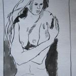 Es ist kalt - Zeichnung von Susanne Haun - 20 x 15 cm - Tusche auf Bütten