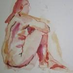 Roter sitzender Akt - Aquarell von Susanne Haun - 40 x 30 cm