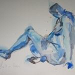 Sitzender blauer Akt - Aquarell von Susanne Haun - 30 x 40 cm