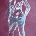Die schüchterne J. mit Tuch - Zeichnung von Susanne Haun - 60 x 80 cm - Acryl und Ölkreide auf Büttenpapier
