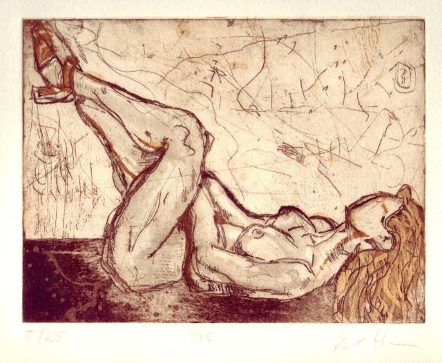 Akt liegend - Aquatinta von Susanne Haun, 2 Platten, 15 x 20 cm