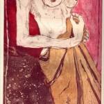 Akt mit Umhang - Aquatinta von Susanne Haun, 3 Platten, 30 x 20 cm