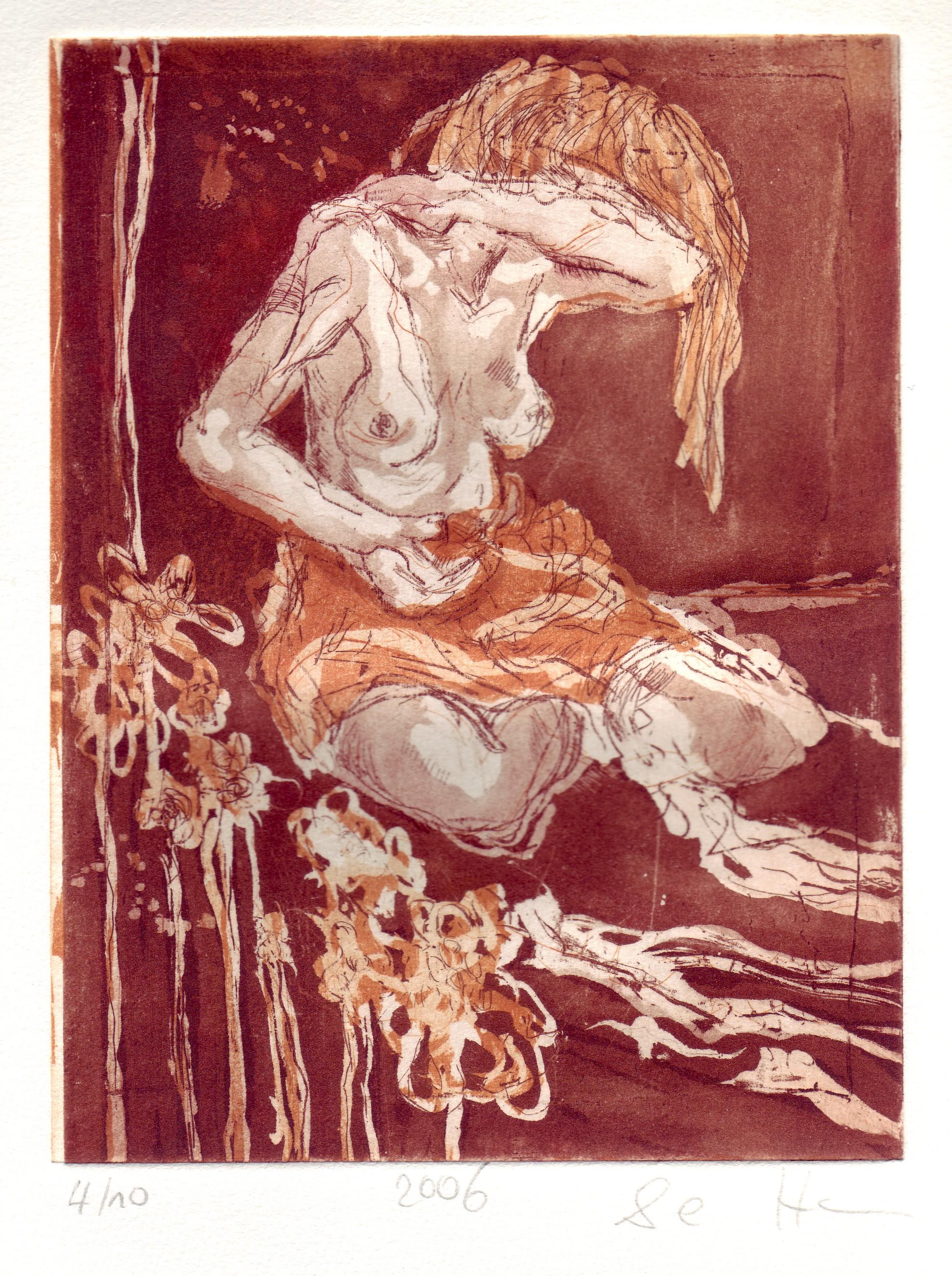 Akt sitzend - Aquatinta von Susanne Haun, 3 Platten, 20 x 15 cm