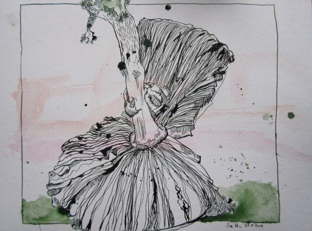 Pilz - Zeichnung von Susanne Haun - Tusche und Aquarell auf Bütten - 30 x 40 cm