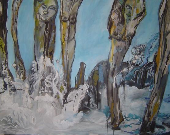 Wellen und Wogen - 2006 - Gemälde von Susanne Haun - 100 x 150 cm - Acryl und Tusche auf Leinwand