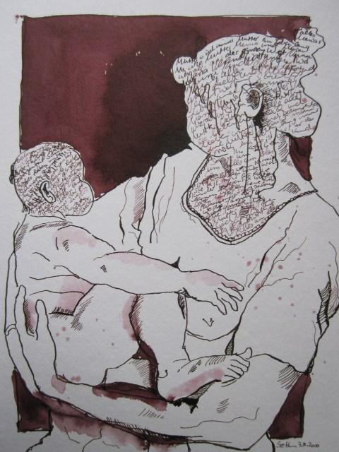 Maria mit Kind - Zeichnung von Susanne Haun - 24 x 32 cm - Tusche auf Bütten