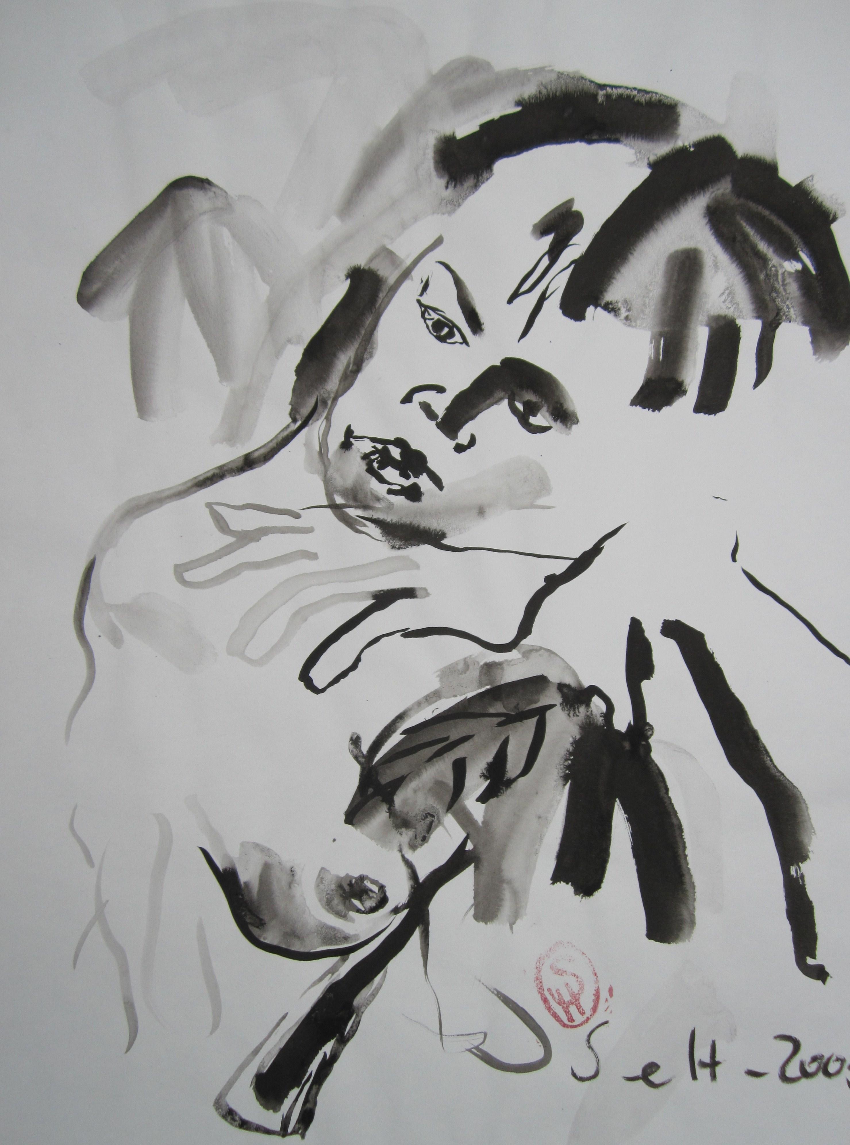 Das Mädchen hörte in den Blättern des Baumes Piktor ein rauschen - 2005 - 70 x 50 cm - Tusche auf Wildseidenpapier