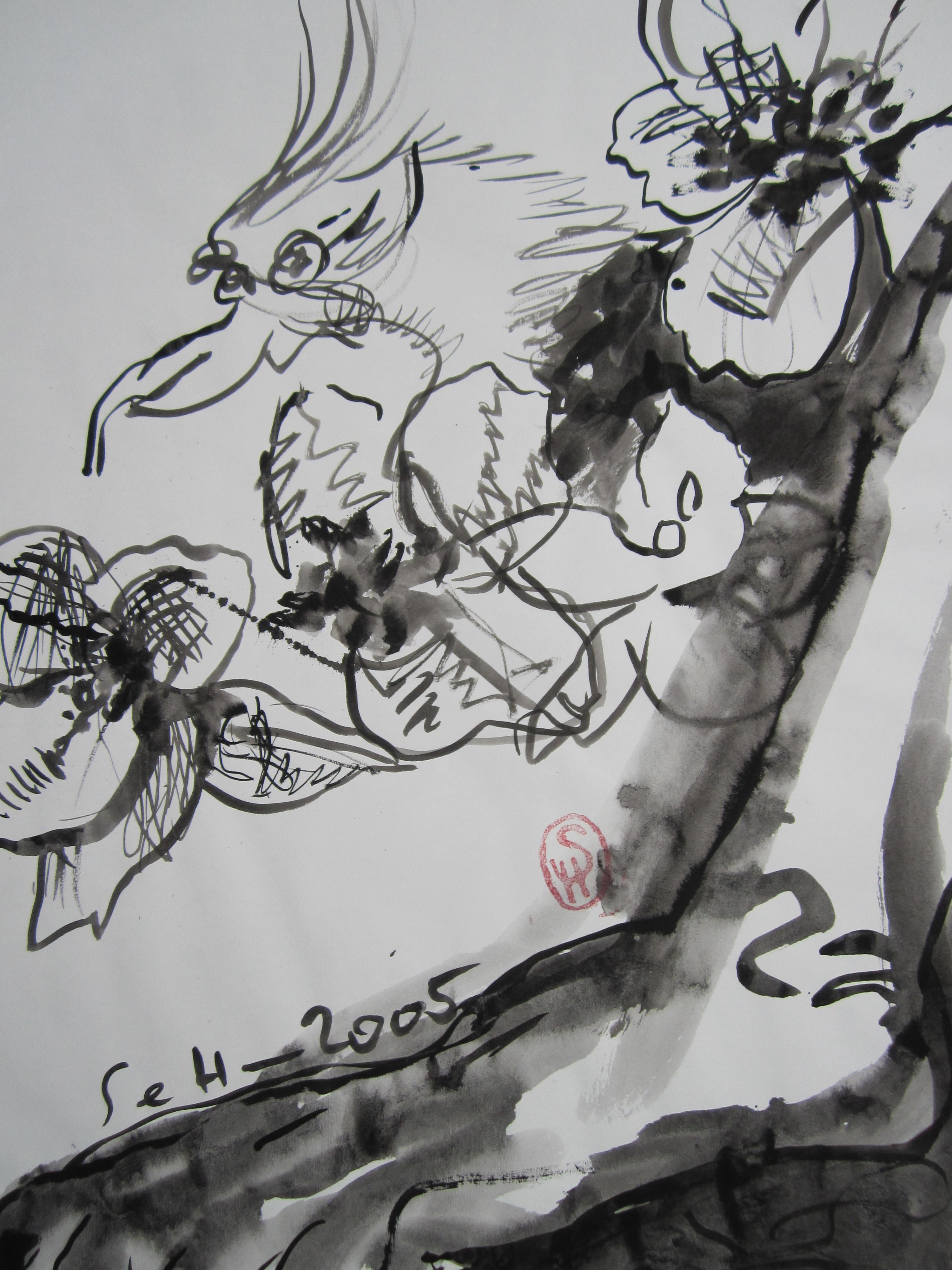 Der neue Falter aber, der frohe bunte Vogelschmetterling - Zeichnung von Susanne Haun - Tusche auf Wildseidenpapier - 70 x 50 cm - 2005