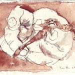 Kleiner Fliegenfisch in großer Hand - Zeichnung von Susanne Haun - 15 x 20 cm - Tusche auf Bütten