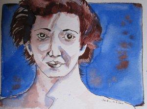 Frau an der Ostsee - Zeichnung von Susanne Haun - 24 x 32 cm