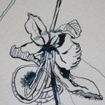 Blume in maurizius blau - Zeichnung von Susanne Haun - 30 x 15 cm - Tusche auf Bütten