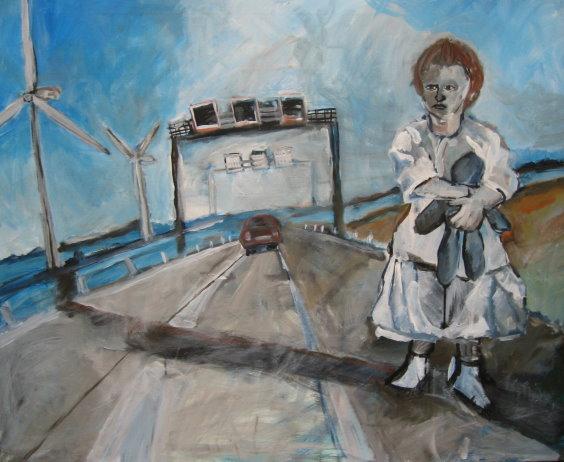 Mädchen auf der Autobahn 2006 - Gemälde von Susanne Haun - Acryl auf Leinwand