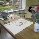 Mein Arbeitsplatz von heute im Atelier - Foto von Susanne Haun