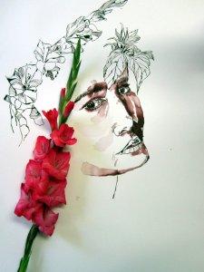 Marlies Gladiolen um meine Ophelia - Zeichnung von Susanne Haun