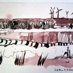 1. Zeichnung Welzow - Zeichnung von Susanne Haun 15 x 20 cm - Tusche auf Bütten