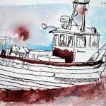 Kleines Fischerboot in Thiessow - Zeichnung von Susanne Haun - 17 x 22 cm - Tusche auf Bütten