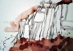 Kreideküste - Zeichnung von Susanne Haun - 17 x 22 cm - Tusche auf Bütten